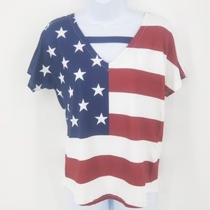 Tops - Top USA Flag Small  Red White Blue Patriotic